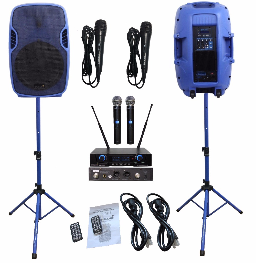 2 STARAUDIO Blue 3500W 15PA Powered Active DJ Stage BT USB SD Speakers W/2CH UHF Wireless Mics Stands Wired Microphone SSBM-15