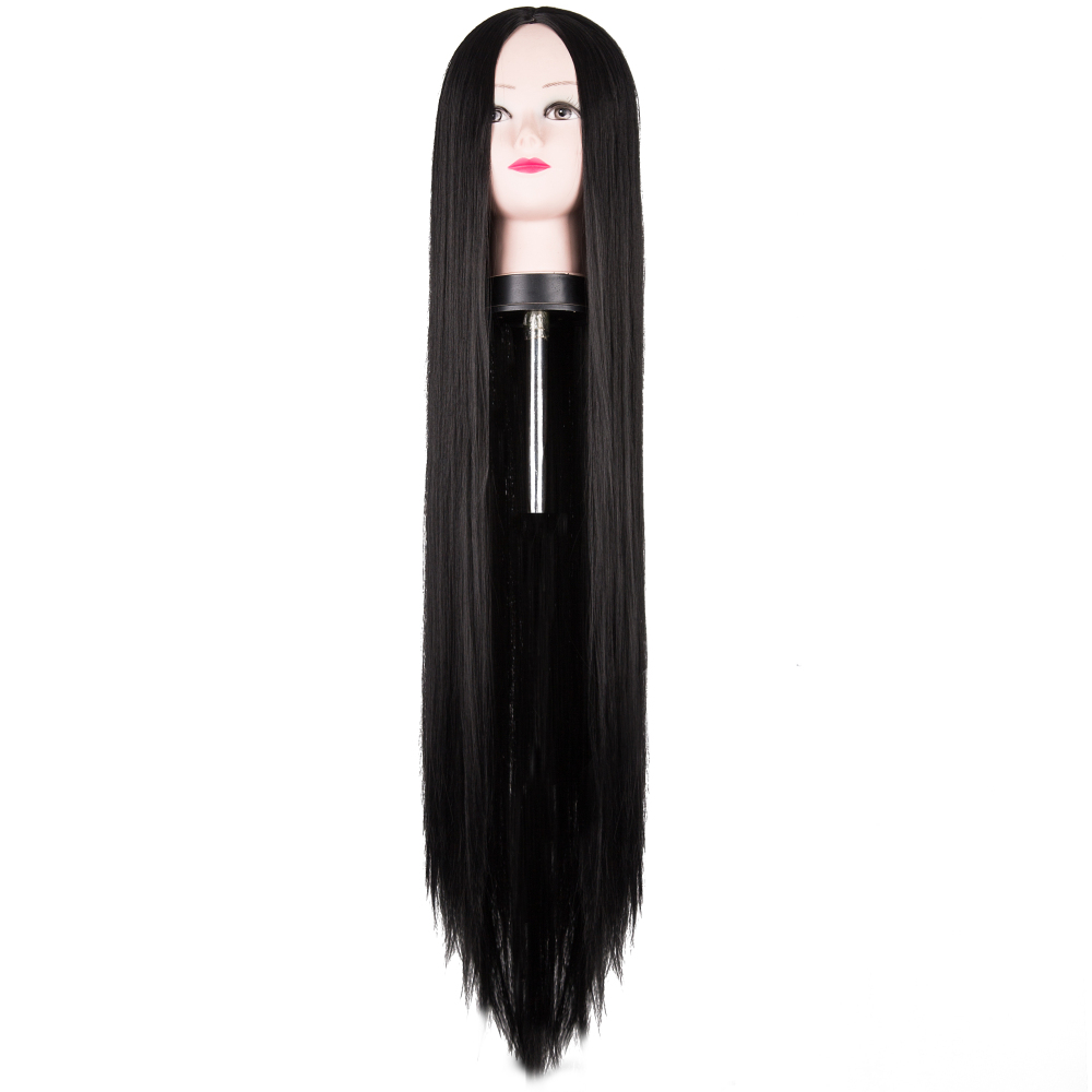 Fei-Show Black Wig 100CM/40 Inches Synthetic Heat Resistant Fiber Long Halloween Carnival Costume Cos-play Straight Women Hair