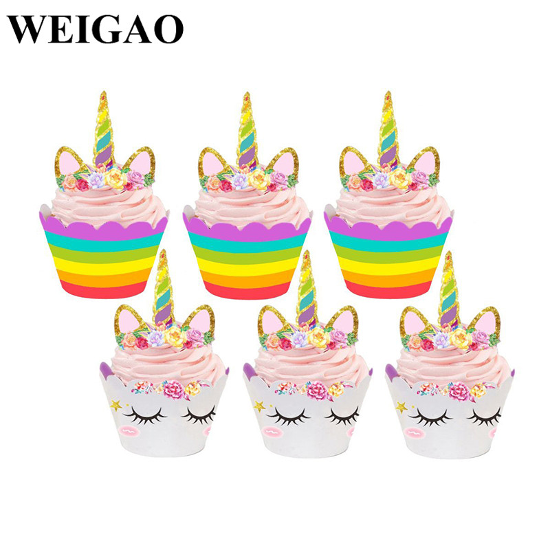 Weigao 12sets Cute Unicorn Cake Topper Cupcake Wrappers