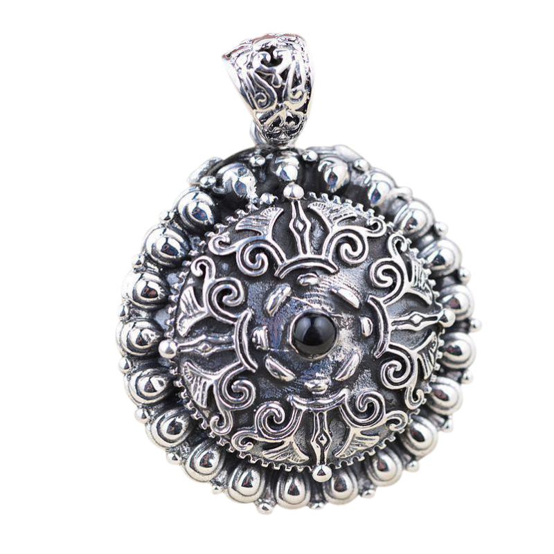 925 Sterling Silver Floating Charm Mantra Locket Pendant Vintage Retro Lotus Carving Shurangama Prayer Box Amulets And Talismans