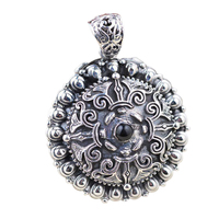 925 Sterling Silver Floating Charm Mantra Locket Pendant Vintage Retro Lotus Carving Shurangama Prayer Box Amulets And Talismans