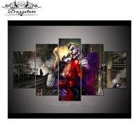 Needlework Diy Diamond painting Cross Stitch Embroidery Joker and Harley Quinn Full Square Drill Mosaic Sticker Wall 5PCS