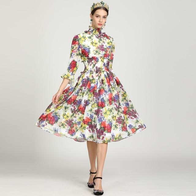 1c5b0edc02c High quality 2019 fashion runway summer dress Women  3 4 Sleeve Elegant  Flower Print Bohemian Chiffon Casual Mid-Calf Dress