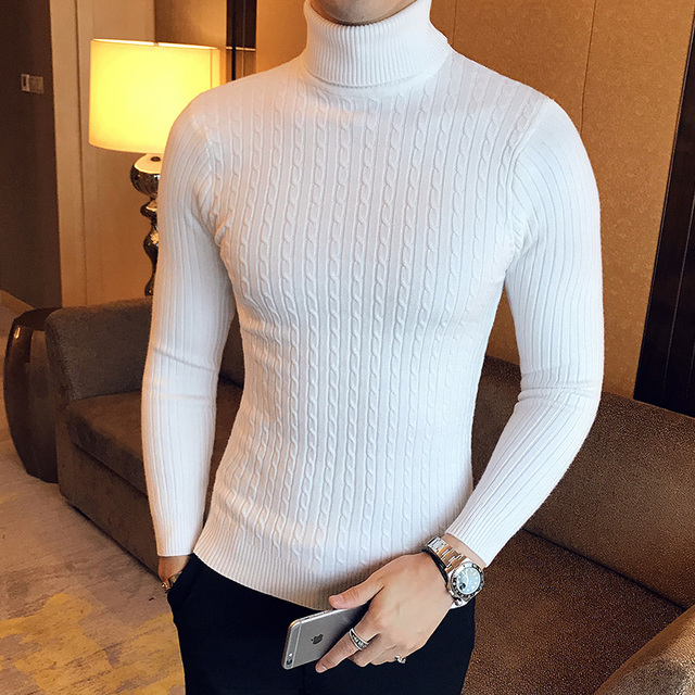 2019 Korean Slim Solid Color Turtleneck Sweater Mens Winter Long Sleeve Warm Knit Sweater Classic Solid Casual Bottoming Shirt
