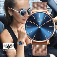Женские часы Новые LIGE Horloges Vrouwen Женские Простые ультра тонкие наручные часы с ремешком сеткой женские непромокаемые кварцевые часы Relojes Para