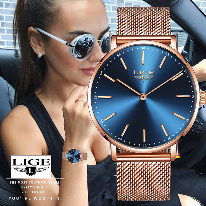 Woman Watch New LIGE Horloges Vrouwen Ladies Simple Ultra Thin Mesh Belt