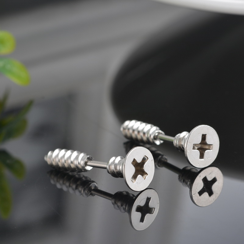 1Pair Bright Silver Tone Stainless Steel Ear Studs Punk Style For Men Women Stud Earring ...
