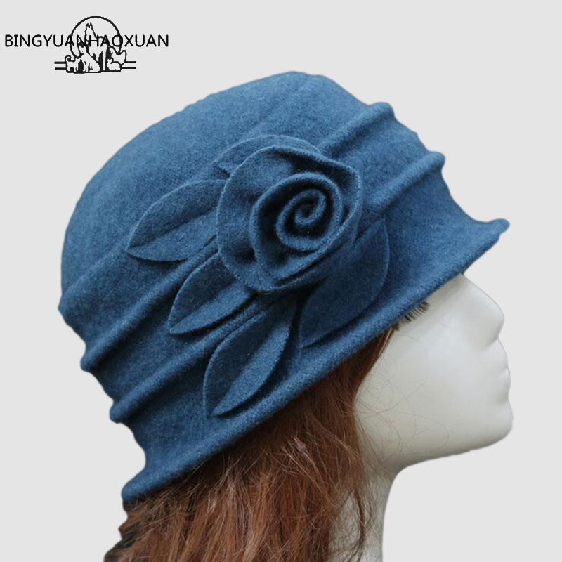 BINGYUANHAOXUAN Women Dome Fedora 100% Wool Hat Mommy Hats For Autumn Winter Solid Flowers Warm Floppy Hat Melon Solid Warm Hat