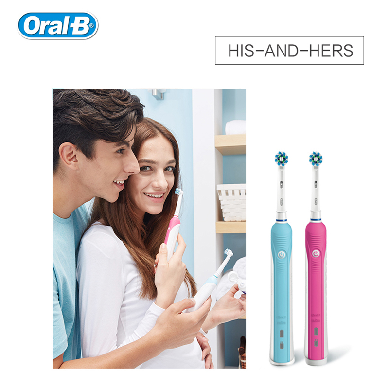 Oral B Pro600 Electric Tooth brush Oral Hygiene Dental Care Electric Rechargeable ToothBrush Head 3D Teeth Whitening for Adult image