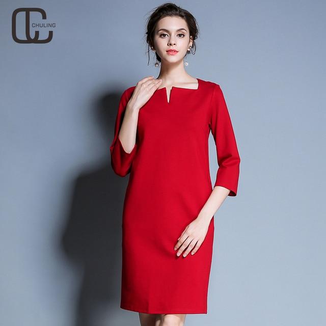 512440339f9f Autunno Inverno delle Donne Semplici Abiti Da Red Casual Tre quarti Maniche  Per Le Signore Vestito