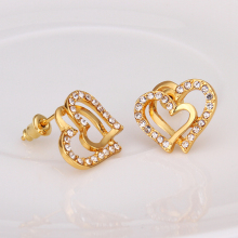 USTAR Gold color Austrian Crystals Lovely Heart Stud Earrings for Fashion Wedding Jewelry Accessoriestop quality