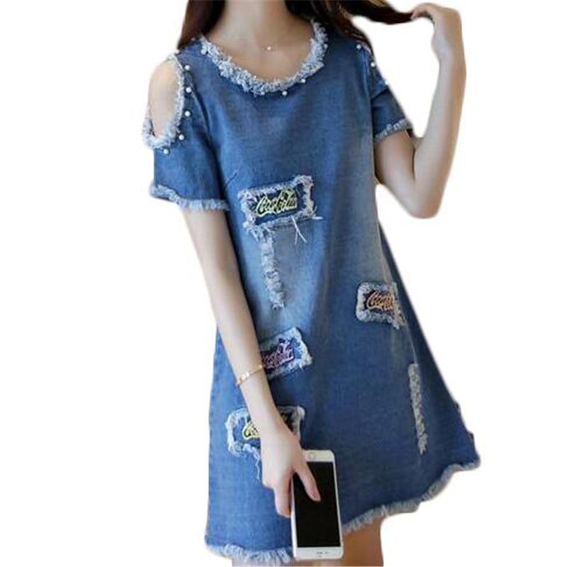 e53994ce57a7 ZYFPGS Sexy Summer 2016 Denim Dress Women Jeans Dress Plus Size Vintage Casual  Dresses Pearl Denim Dress ZMF748952
