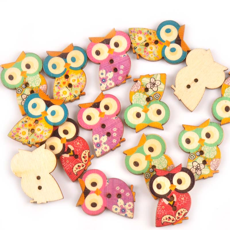 Apparel Sewing & Fabric 50pcs Lovely Owl Wooden Buttons For Clothing Sewing Scrapbooking Crafts Woodcraft Button Diy Clothes Accessories 24x30mm M0729x
