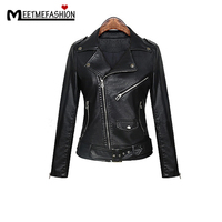 2017 New Fashion Spring Autumn Women Soft Leather Long Sleeve Coat Zipper Design Motorcycle Cool Black