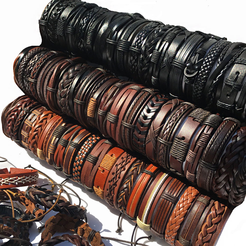 Wholesale 10PCS/lot (Random 10pcs ) Mix Styles Braided Bracelets Or 6pcs Leather Bracelets For Men Wrap Bangle Party Gifts  MX5 floral chiffon dress long sleeve