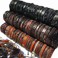 Groothandel 10 Stks/partij (Willekeurige 10 Stuks) mix Stijlen Gevlochten Armbanden Of 6 Stuks Lederen Armbanden Voor Mannen Wrap Bangle Party Geschenken MX5(China)