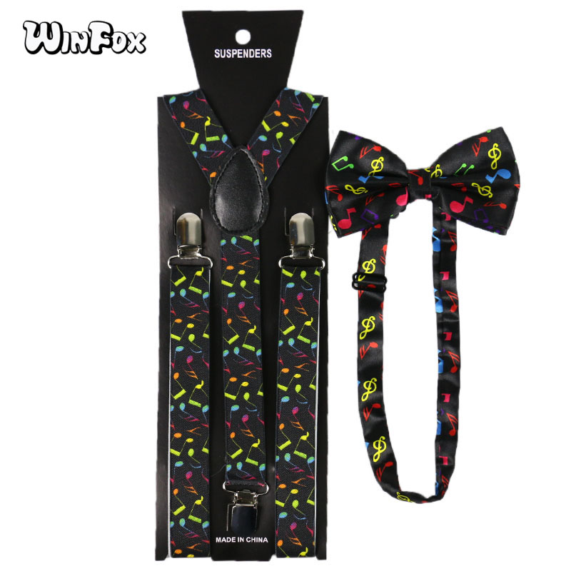 Winfox Vintage Multicolor Wide Music Note Suspenders Bowtie Brace For Women Men Black Suspensorio