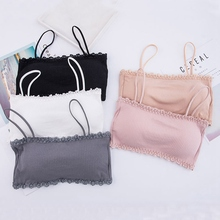 Women Bralette Crop Top Back Closure Bra Chest Pad Underwear Girls Strapless Tube H