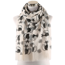 Winfox Pink Grey Cute Black Cat Print Ladies Long Scarf Shawl For Womens Hijab Foulard