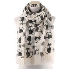 Winfox Pink Grey Cute Black Cat Print Ladies Long Scarf Shawl For Womens Hijab Foulard