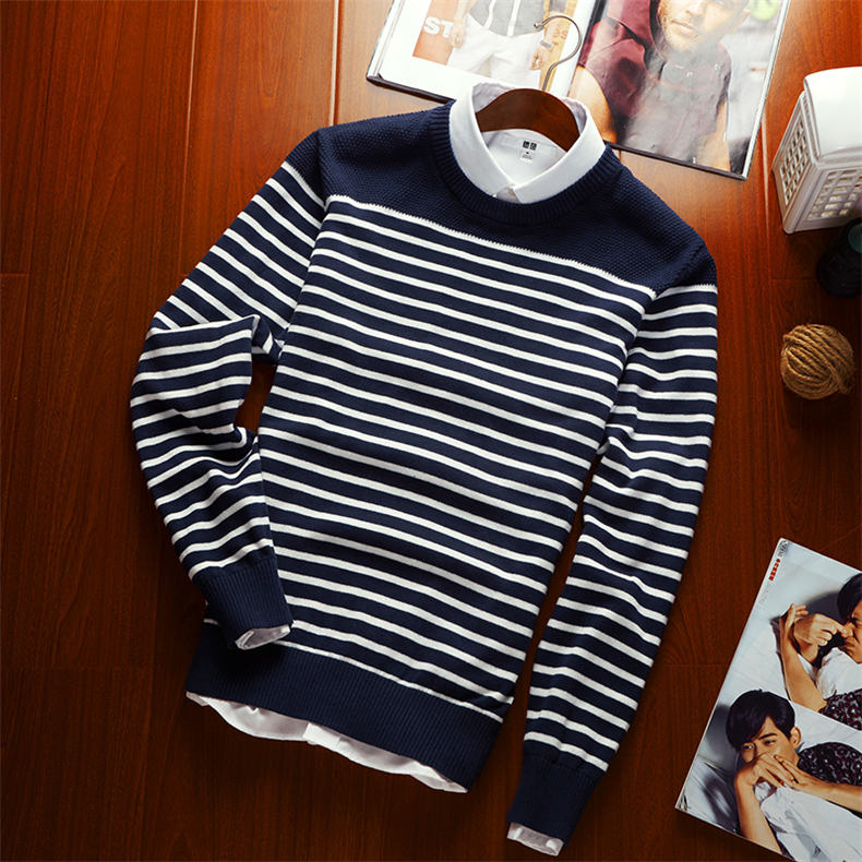 MuLS 2019 Spring Knit Sweater Men Pullover Striped Sweater Jumpers Autumn Male Cotton knitwear Youth Blue Black Grey Size M-3XL 10