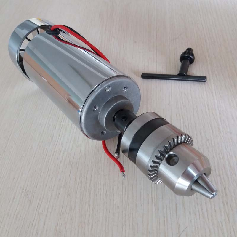 400W DC Spindle Motor , DC12-48V 12000rpm, Engraving Milling Grind Air-cooling Long Mouth Tightening 1.5mm - 10mmspindle Motor