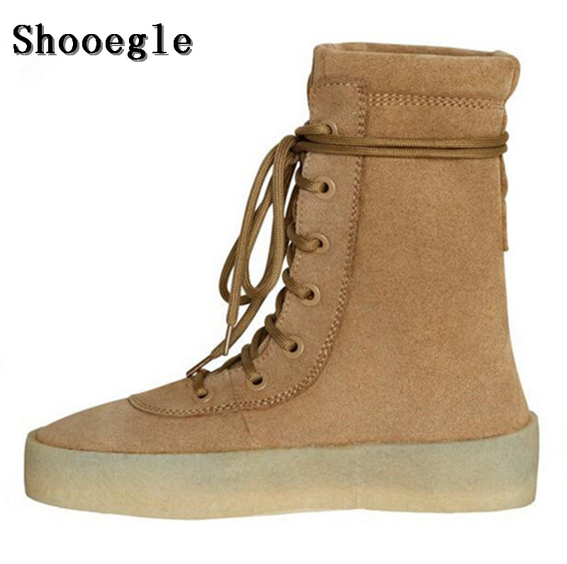 Здесь можно купить  SHOOEGLE Chaussure Homme Superstar Shoes Men Military Crepe Boots Black Brown Flat Boots Suede Lace Up Autumn Ankle Booties Man  Обувь