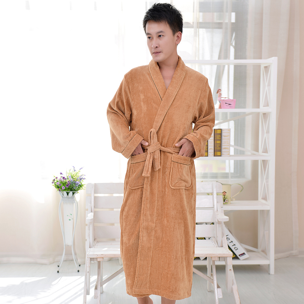 Khaki Color style velour night gown sleepwear bathrobe men super soft