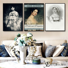 The Portrait Of Jane Austen Posters and Prints Wall art Decorative Picture Canvas Painting For Living Room Home Decor Unframed