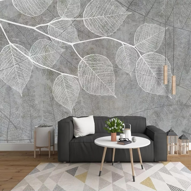 Custom 3D Photo Wallpaper Nordic Modern Hand Painted Grey Leaf Mural Wall Papers Home Decor Living Room Bedroom Murals Wallpaper