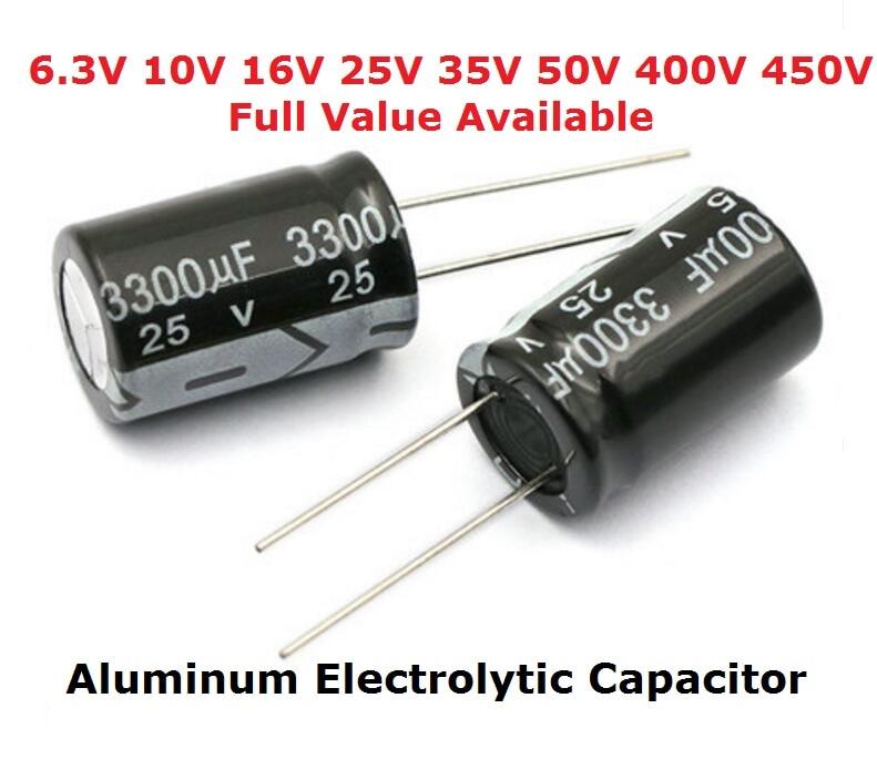 5PCS Aluminum Electrolytic Capacitor 6.3V 1000UF 10V 1500UF 16V 2200UF 25V 3300UF 35V 50V 400V 4700UF 680UF 35V 1UF 2.2UF 3.3UF