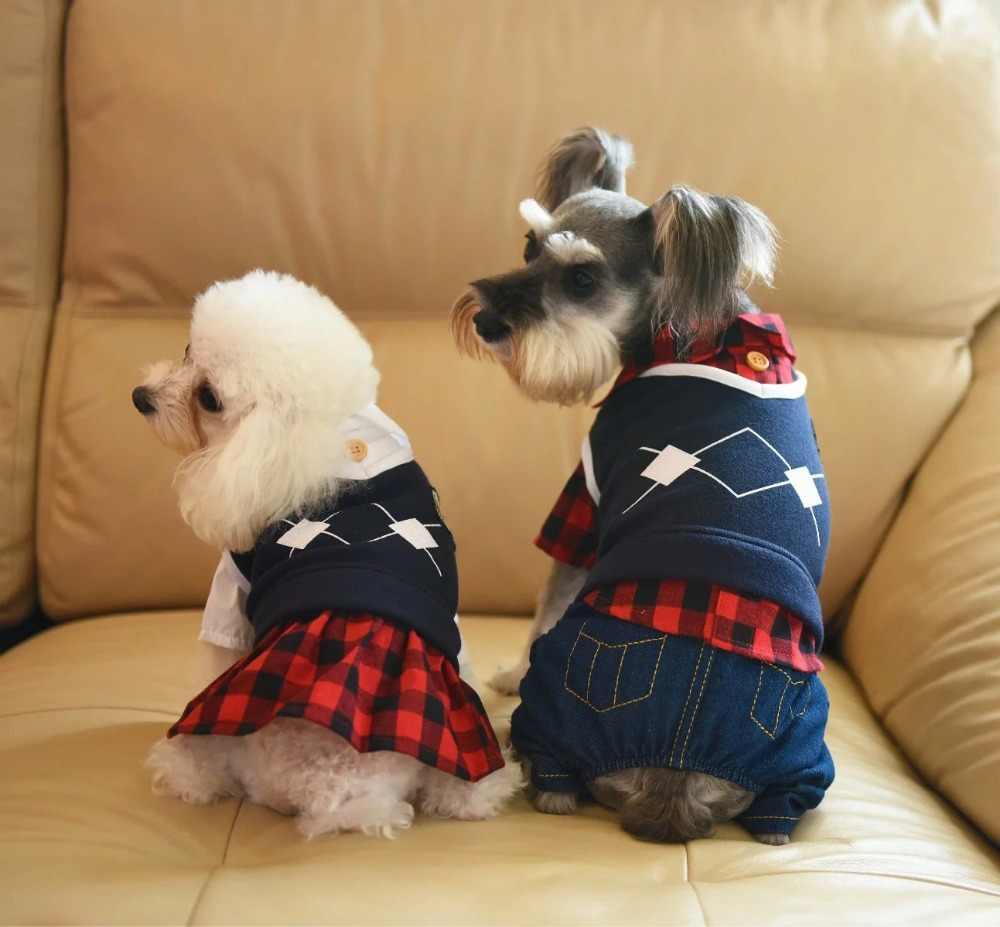 סתיו אביב קטן כלב סרבל חיות מחמד חתול שמלת מעיל לחיות מחמד חליפת קמפוס סגנון חיות מחמד בגדי Tiddy צ 'יוואווה XS S M L XL