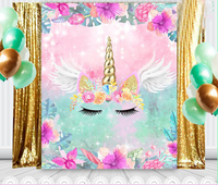 Unicorn Flowers wings bokeh Birthday Baby Shower photo backdrop High quality Computer print party backgrounds