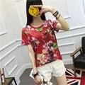 Embroidery Bee Beading Floral Print T Shirt Women Brand 2017 Summer T Shirt Short Sleeve O-neck Casual Tops Tee Shirt Femme