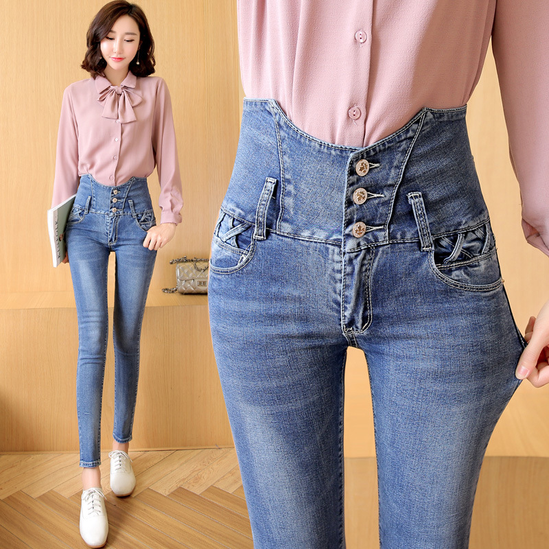 цены  Women Jeans Real Cotton Light In The Autumn Of 2016 New Korean Slim Feet Pencil Pants Denim Trousers Ladies High Waist Jeans