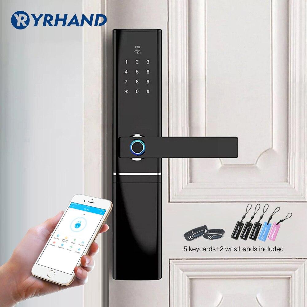 WiFi Fingerprint Door lock, Waterproof Electronic Door Lock Intelligent Biometric Door Lock Smart Fingerprint Lock With App gear shift
