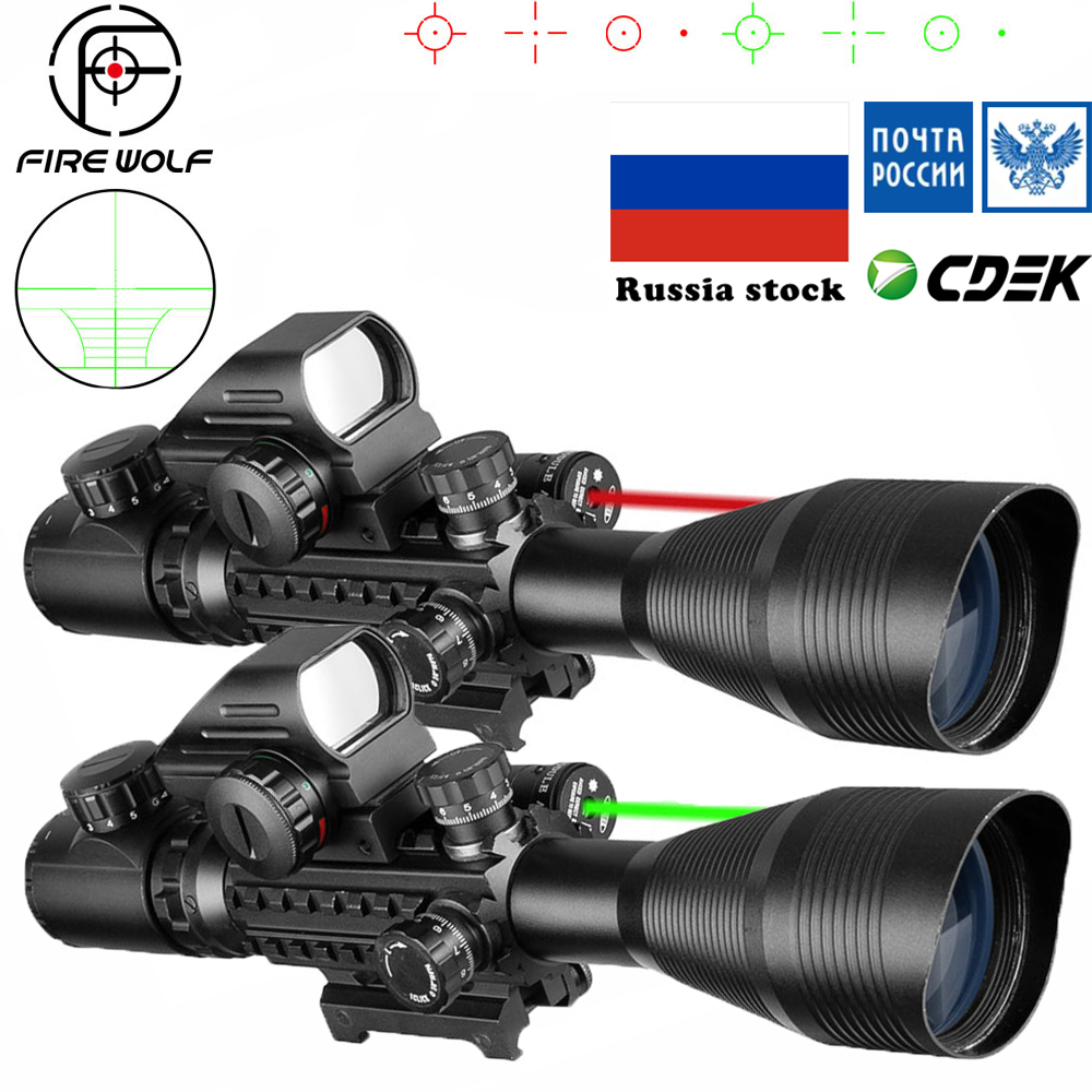 טקטי 4-12X50 היקף + אדום נקודה + לייזר סט ציד Airsofts אוויר אקדח אדום ירוק דוט לייזר Sight Riflescope אופטיקה היקף קומבו