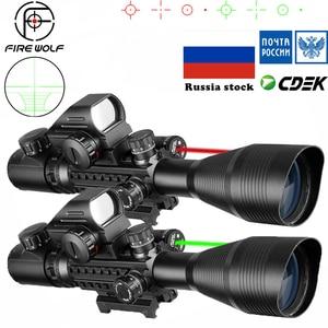 Image 1 - 전술 4 12X50 범위 + 빨간 점 + 레이저 세트 사냥 Airsofts 공기총 빨강 녹색 점 레이저 시력 Riflescope 광학 범위 콤보