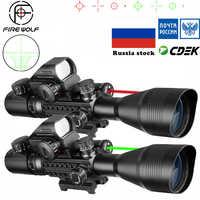 Portée tactique 4-12X50 + point rouge + Laser Set chasse Airsofts pistolet à Air rouge point vert viseur Laser lunette optique portée Combo
