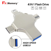 4 in 1 OTG USB Flash Drive Pendrive for iPhone/Type C/Micro Usb Stick 3.0 16GB 32GB 64GB 128GB Pendrive Flash Drive Memory Stick