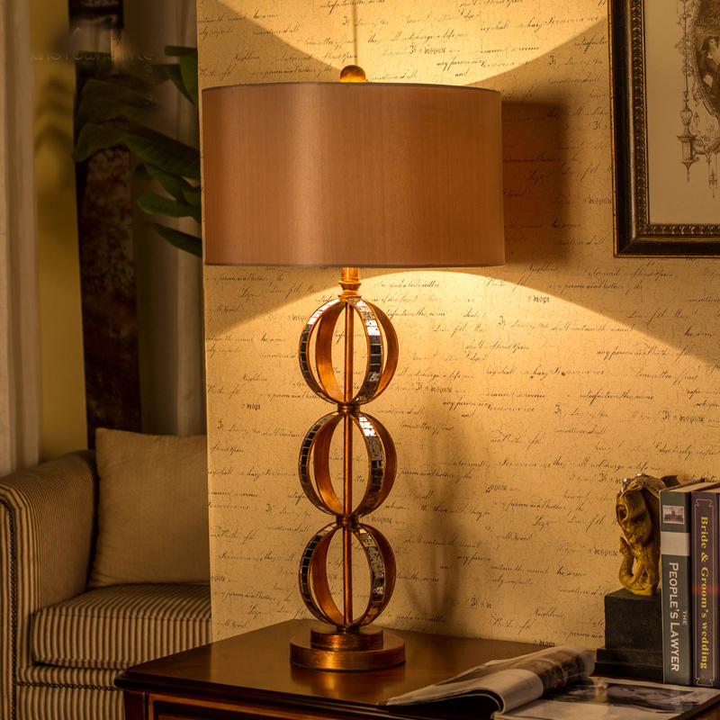 89CM Antique Copper Hand-made production mirror Desk Lamp European Style Luxury Table Lamp For Bedroom Home Decoration Luminaire