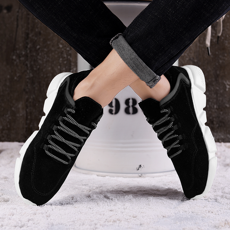 SUROM 2019 Winter New Men's Casual Shoes Plush Lightweight Sneakers Male Leather Fashion Flats Lace Up Warm Cotton Shoes