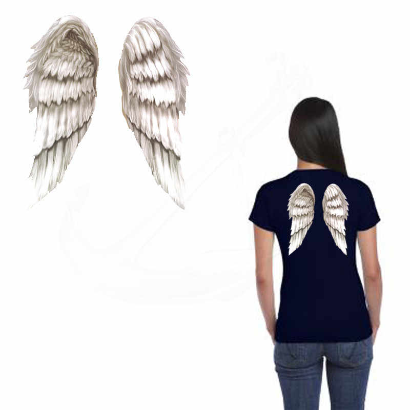 30*23cm White angel wings Stickers T-shirt Dresses Sweater A-level Washable thermal transfer Printed iron on patch