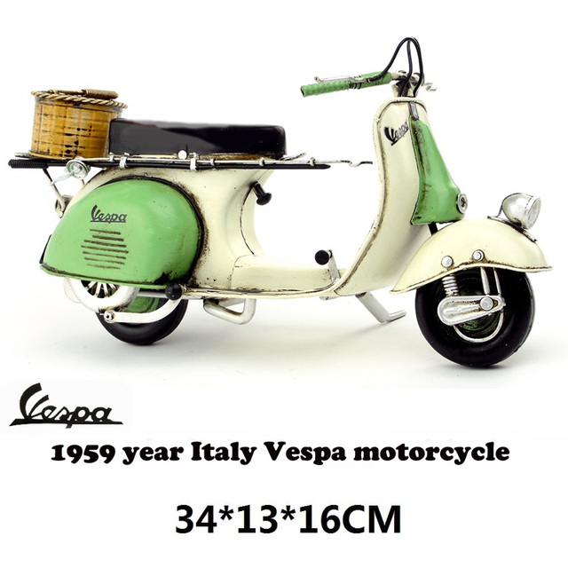 9549ee18562 Vespa model Car 1955 Italy vintage metal toy Green motorcycle toys hot  wheel 1 12 safe Cool Diecast Metal vespa motor collection