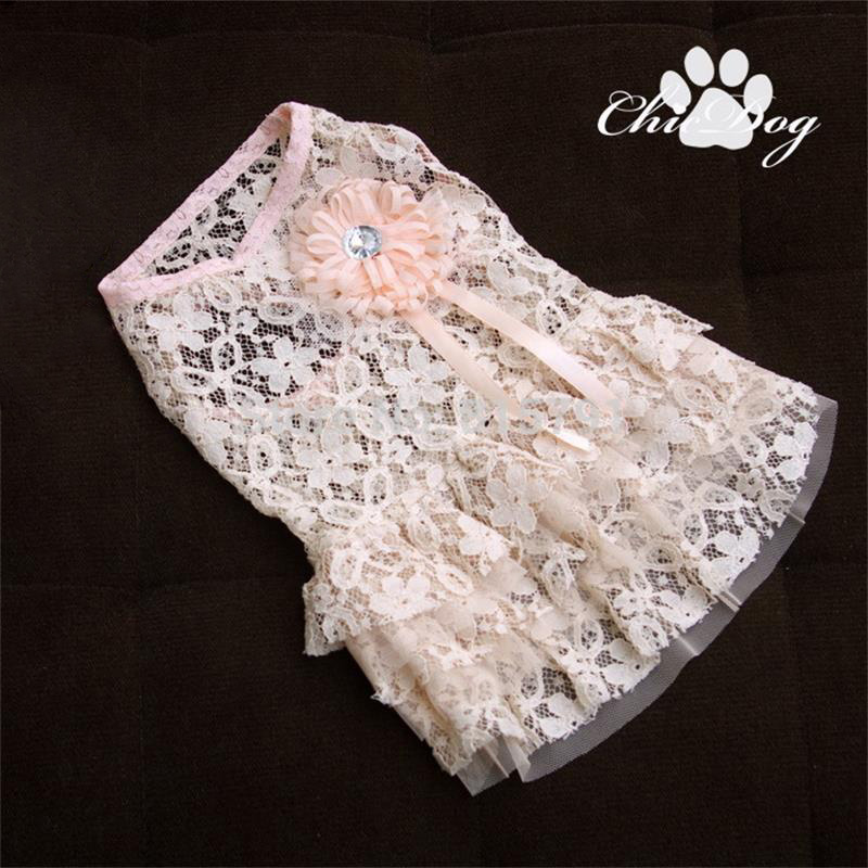 Free Shipping lace pet dog dress clothing for dogs