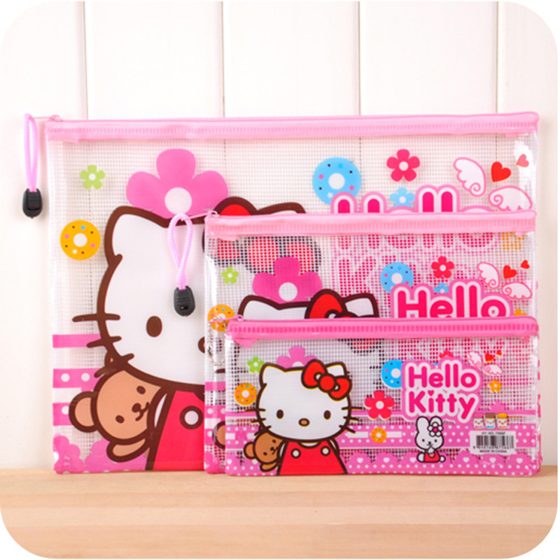 3pcs/set Hello kitty Office Cosmetic Make Up Pencil Bag Pouch Case File Bags Cute Stationery Pencil Case Waterproof 5 HHY
