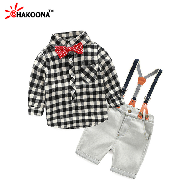 2016 Baby Boy Spring Causal Clothing Sets Infants Cotton Children Suit For Boys Toddlers Plaid Shirt With Tie+Suspenders Pants