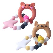 1 Set Child Baby Pacifier Teether Bracelet Soothing Boys Girls Cute Fox Piggy Shape Colorful Design Kids Comfort Supplies