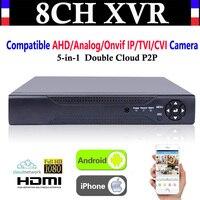 Comparar Actualización CCTV 8CH canal 1080P NVR AHD TVI CVI DVR + 1080N 5-en-1 grabadora de Video Compatibile AHD/analógica/IP Onvif/TVI/CVI Cámara