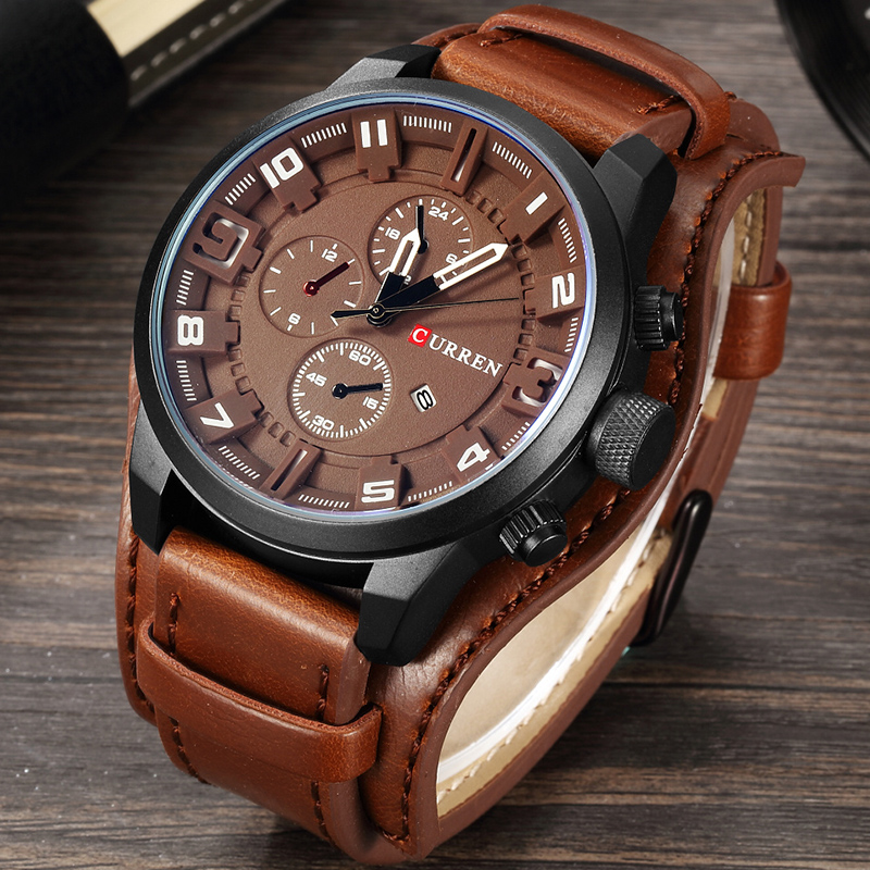 CURREN Top Brand New Men Fashion Quartz Watches Men's Army Leather Sports Wrist Watch Male Military Date Clock Relogio Masculino genuine curren brand design leather military men cool fashion clock sport male gift wrist quartz business water resistant watch